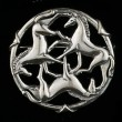 Celtic Horse Jewelry: Sterling Silver Three Horse Circle Brooch