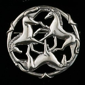 Three Horse Circle Brooch